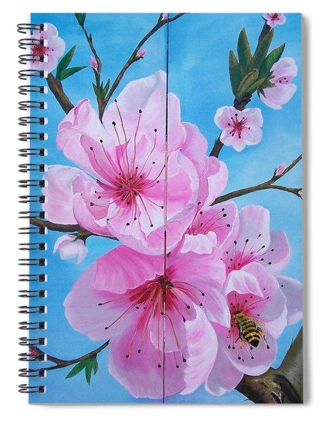 Peach Tree In Bloom Diptych Spiral Notebook