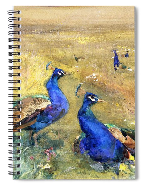 Peacocks In A Field Spiral Notebook