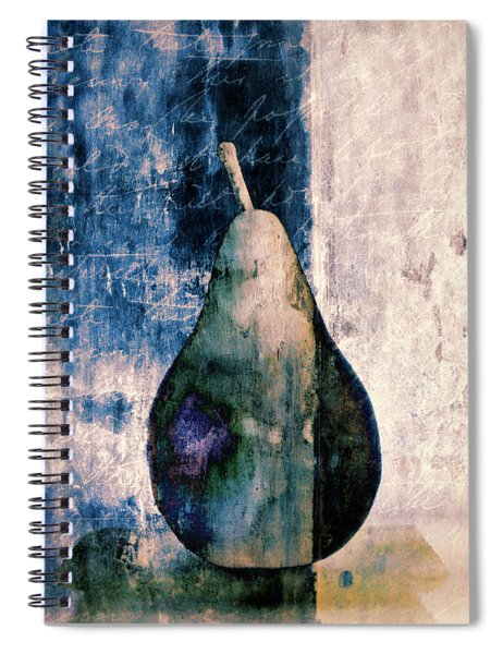 Pear In Blue Spiral Notebook