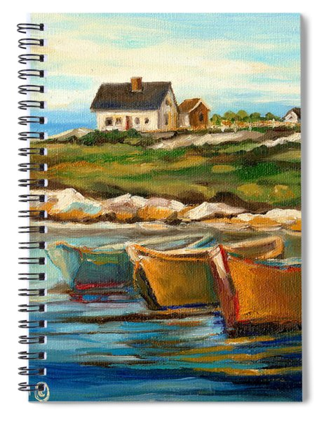 Peggys Cove With Fishing Boats Spiral Notebook