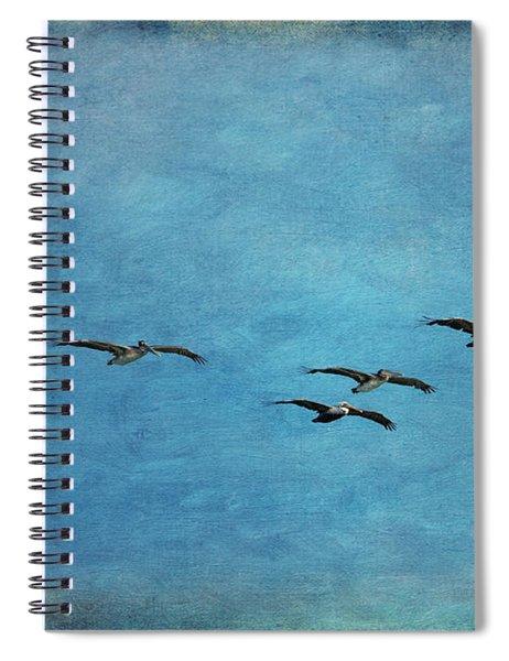 Pelicans In Flight Spiral Notebook