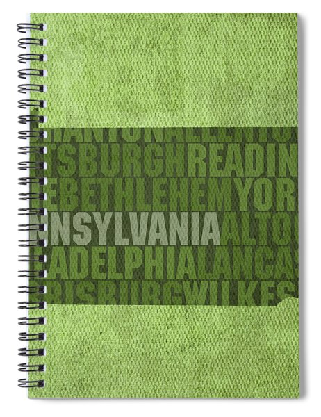 Pennsylvania Word Art State Map On Canvas Spiral Notebook by Design Turnpike