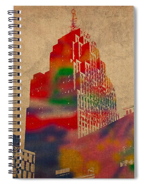 Penobscot Building Iconic Buildings Of Detroit Watercolor On Worn Canvas Series Number 5 Spiral Notebook