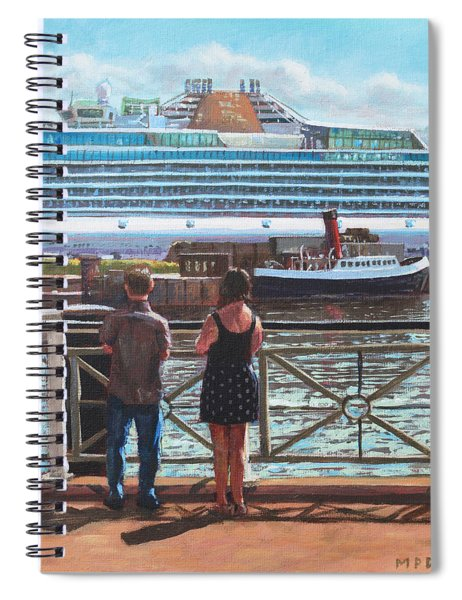 People At Southampton Eastern Docks Viewing Ship Spiral Notebook
