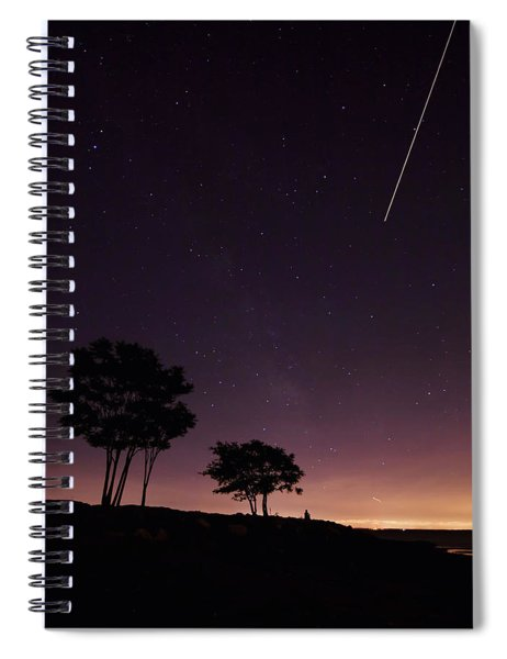 Perseids Meteor Over Sasco Hill Spiral Notebook