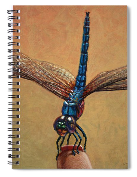 Spiral Notebook featuring the painting Pet Dragonfly by James W Johnson