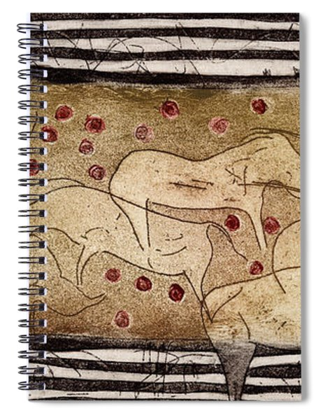 Petroglyph - Ensemble Of Red Dots And Short Strokes - Prehistoric Art - The Plains - Prarie Country Spiral Notebook