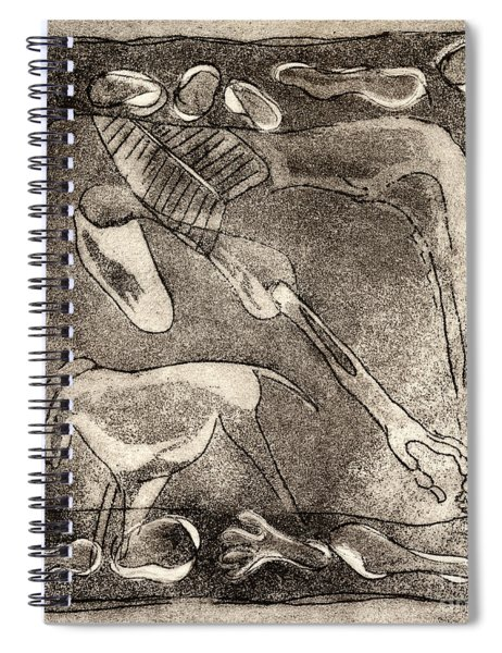Petroglyph - Horse Takhi And Stones - Prehistoric Art - Cave Art - Rock Art - Cave Painters Spiral Notebook