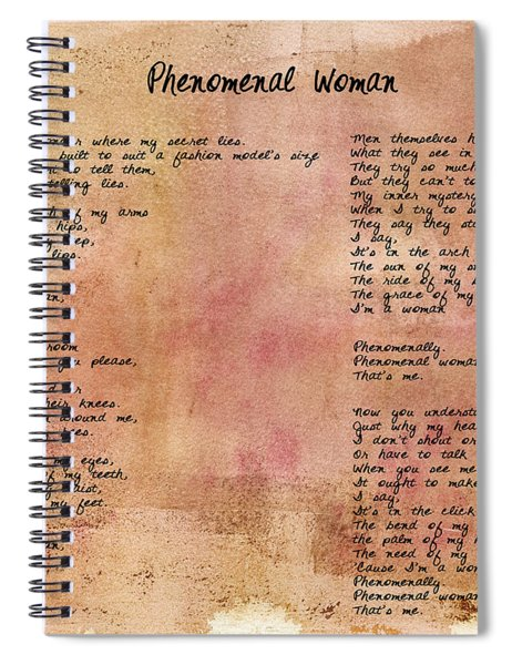 Phenomenal Woman - Red Rustic Spiral Notebook