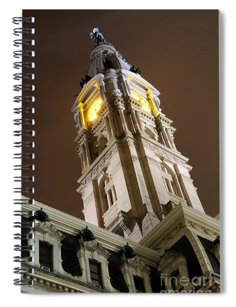 Philadelphia City Hall Clock Tower At Night Spiral Notebook
