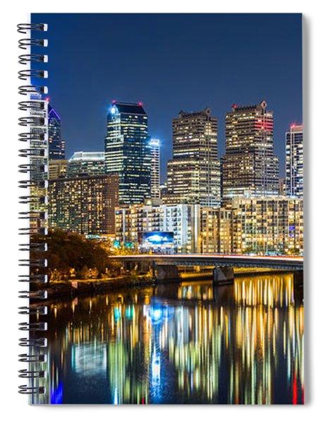 Philadelphia Cityscape Panorama By Night Spiral Notebook