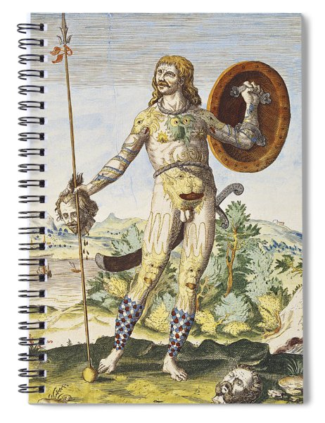 Pictish Man, From Admiranda Narratio..., Engraved By Theodore De Bry 1528-98 1585-88 Coloured Spiral Notebook