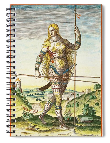 Pictish Woman, From Admiranda Narratio..., Engraved By Theodore De Bry 1528-98 1585-88 Coloured Spiral Notebook