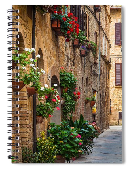 Spiral Notebook featuring the photograph Pienza Street by Inge Johnsson
