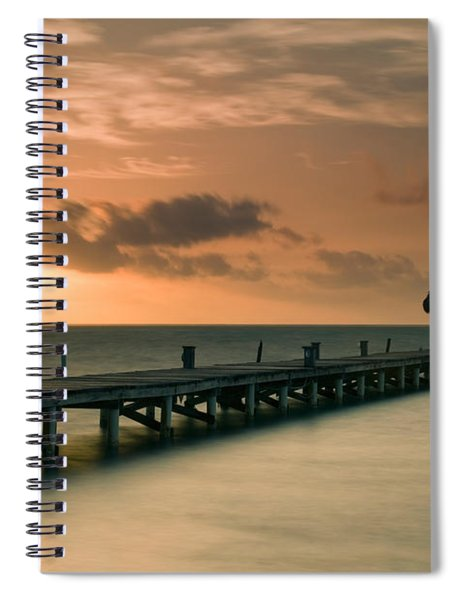 Pier With Palapa At Sunrise, Ambergris Spiral Notebook