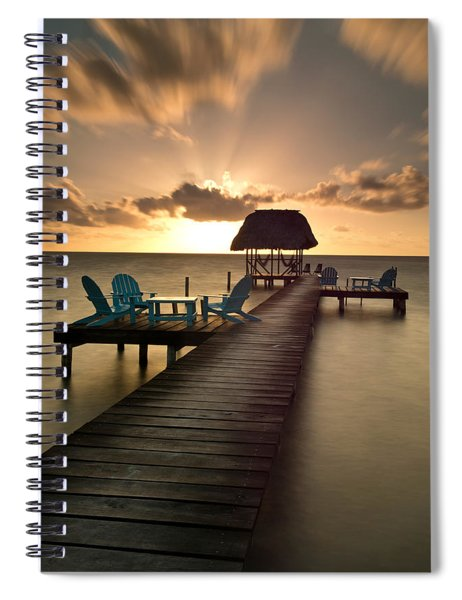 Pier With Palapa On Caribbean Sea Spiral Notebook