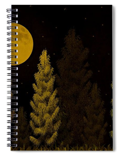 Pine Forest Moon Spiral Notebook