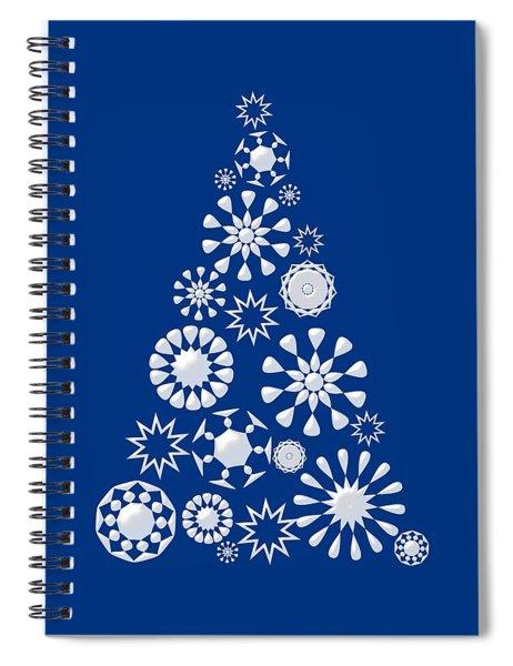 Pine Tree Snowflakes - Dark Blue Spiral Notebook