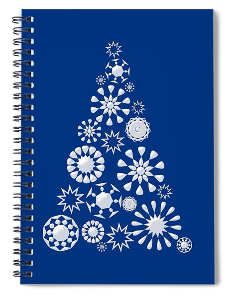Pine Tree Snowflakes - Dark Blue Spiral Notebook