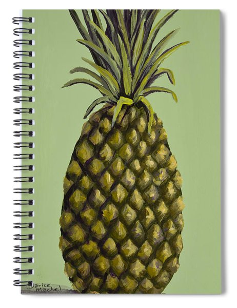 Pineapple On Green Spiral Notebook