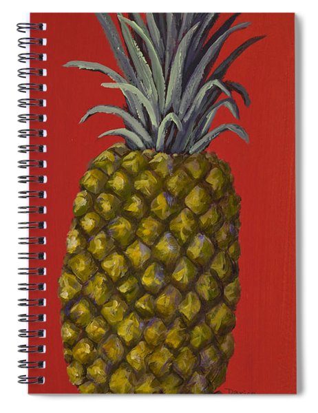Pineapple On Red Spiral Notebook