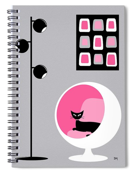Pink 1 On Gray Spiral Notebook