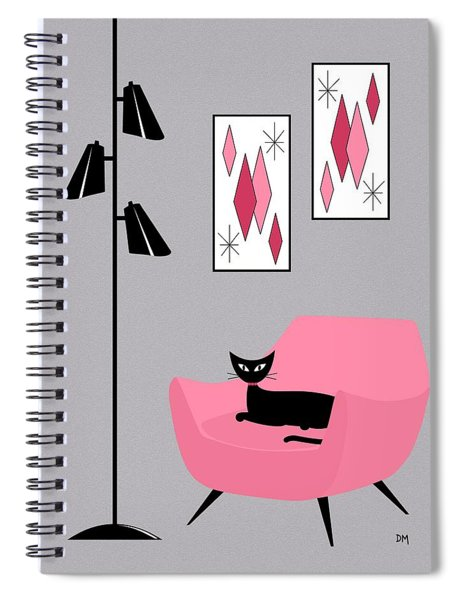 Pink 2 On Gray Spiral Notebook