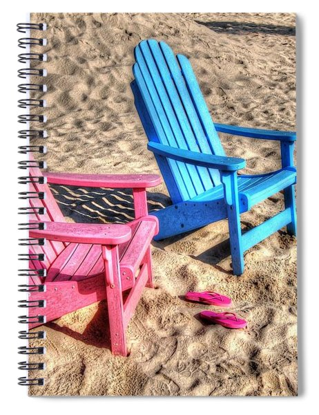 Pink And Blue Beach Chairs With Matching Flip Flops Spiral Notebook