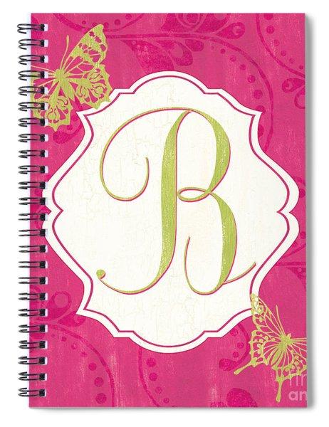 Pink Butterfly Monogram Spiral Notebook
