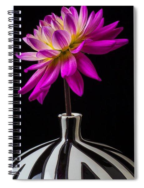 Pink Dahlia In Striped Vase Spiral Notebook