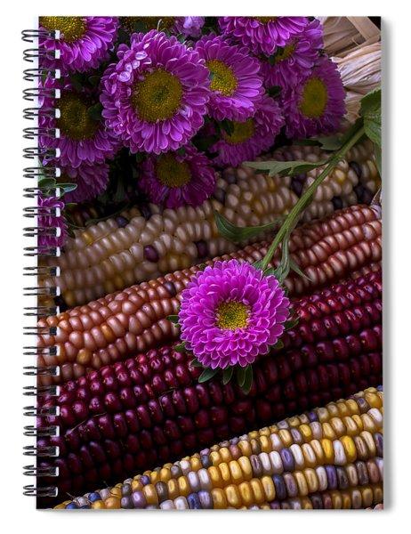 Pink Flower And Corn Spiral Notebook