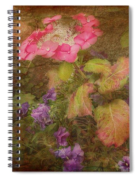 Pink Hydrangea And Purple Pansies Spiral Notebook
