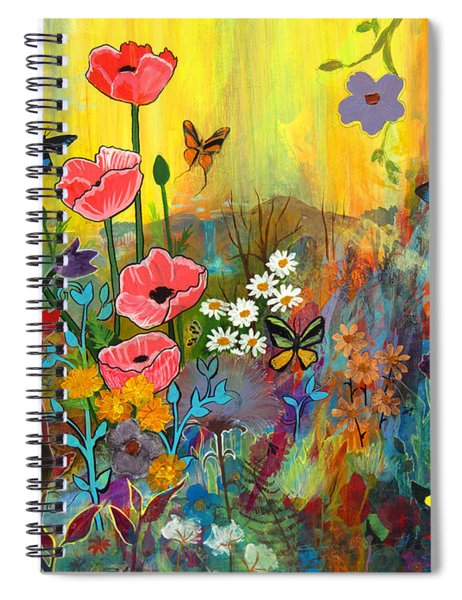 Pink Poppies In Paradise Spiral Notebook