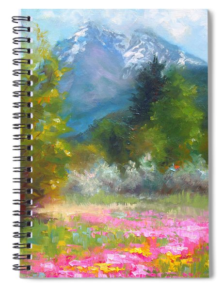 Pioneer Peaking - Flowers And Mountain In Alaska Spiral Notebook