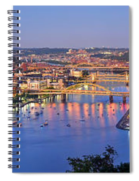 Pittsburgh Pennsylvania Skyline At Dusk Sunset Extra Wide Panorama Spiral Notebook