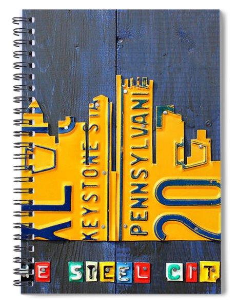 Pittsburgh Skyline License Plate Art Spiral Notebook