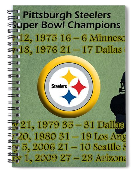 Spiral Notebook featuring the digital art Pittsburgh Steelers Super Bowl Wins by Movie Poster Prints