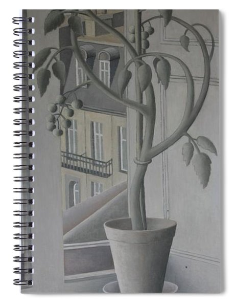 Plant In Window, Oil On Panel Spiral Notebook