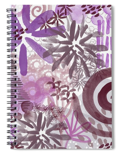 Plum And Grey Garden- Abstract Flower Painting Spiral Notebook