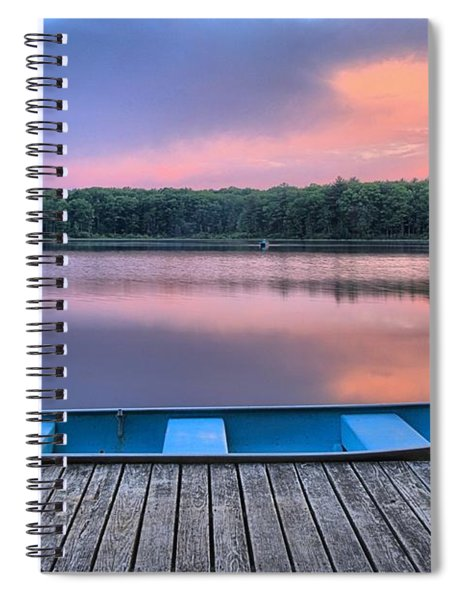 Poconos Lake Whitney Sunset Rowboat Spiral Notebook
