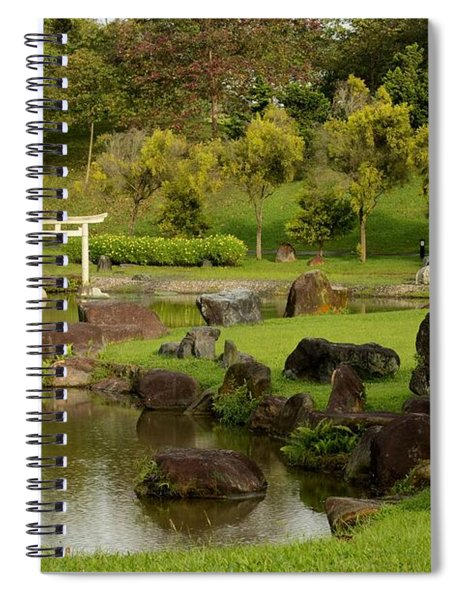 Pond Rocks Grass And Japanese Arch Singapore Spiral Notebook