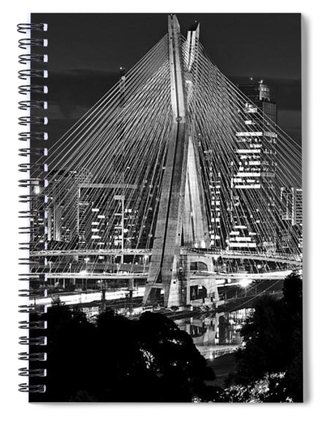 Sao Paulo - Ponte Octavio Frias De Oliveira By Night In Black And White Spiral Notebook
