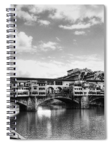 Ponte Vecchio At Florence Italy Bw Spiral Notebook