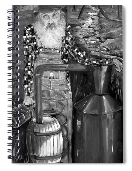 Spiral Notebook featuring the painting Popcorn Sutton - Black And White - Legendary by Jan Dappen