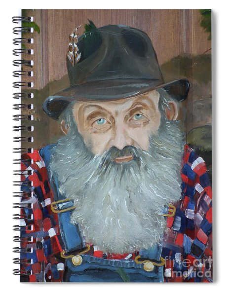 Spiral Notebook featuring the painting Popcorn Sutton - Moonshiner - Portrait by Jan Dappen