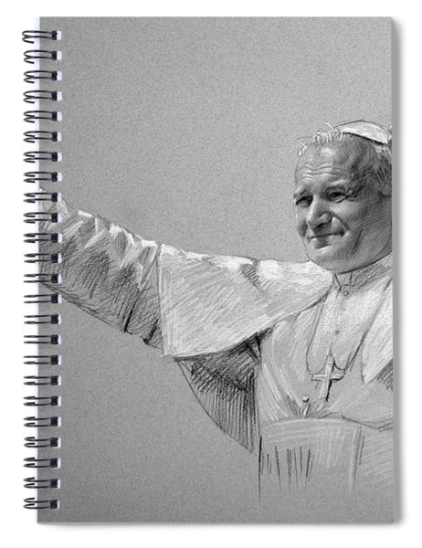 Pope John Paul II Bw Spiral Notebook