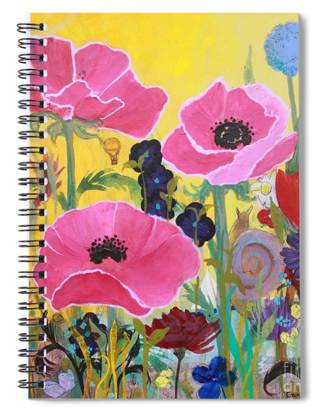 Poppies And Time Traveler Spiral Notebook