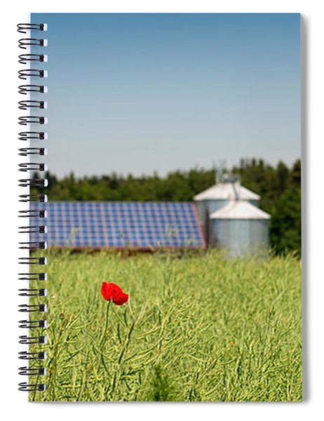 Poppy Flower In A Field And Barn Spiral Notebook