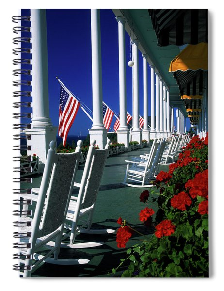 Porch Of The Grand Hotel, Mackinac Spiral Notebook