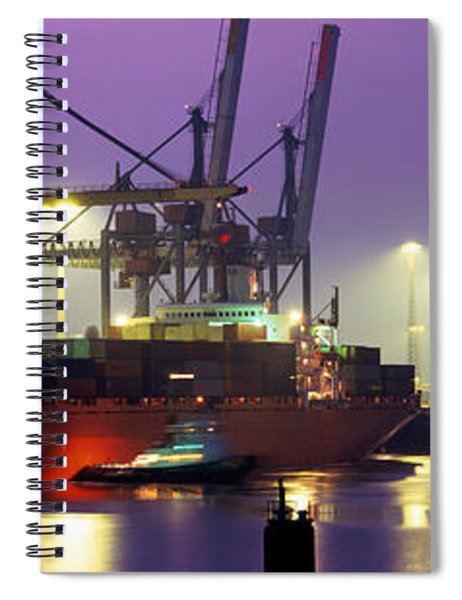 Port, Night, Illuminated, Hamburg Spiral Notebook